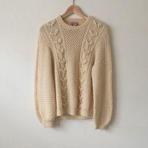 Vintage Wool Fisherman's Sweater Balloon Sleeves